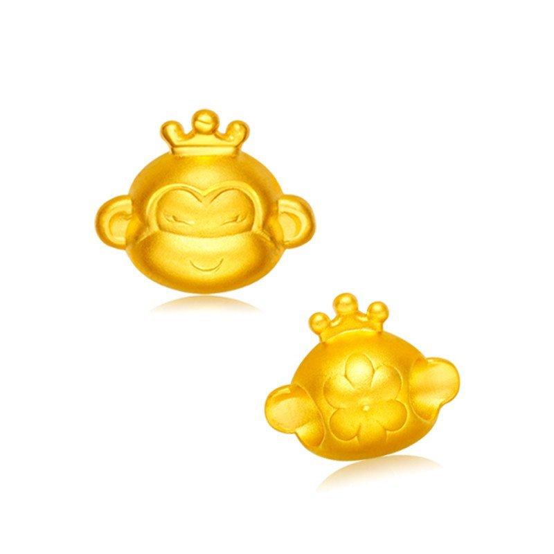 黄金猴子囹�a_金匠世家 3d硬金生肖猴子黄金吊坠属相坠子项链女款礼物饰品皇冠猴