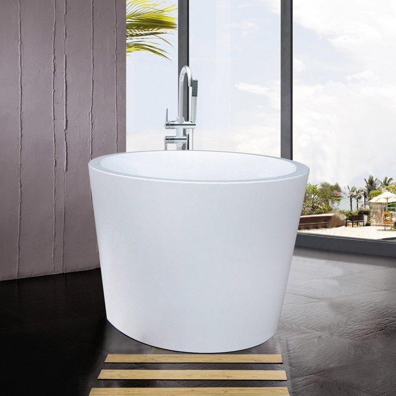 尚雷仕独立式圆形贵妃浴缸家用 欧式亚克力成人保温浴池单人小户型