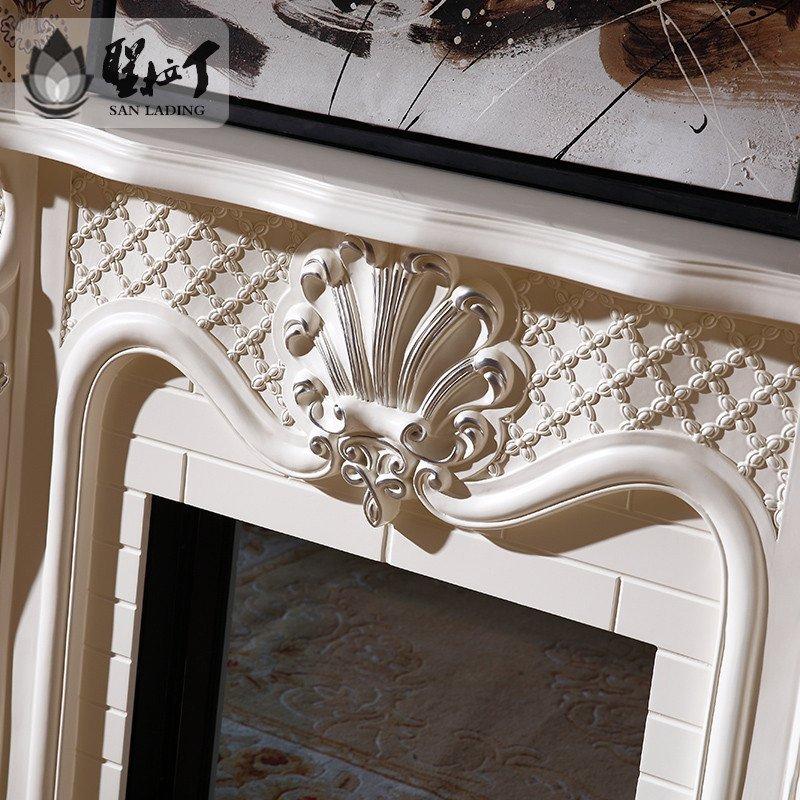 5米欧式古典壁炉象牙白描银深色装饰电视柜仿真火焰炉芯壁炉