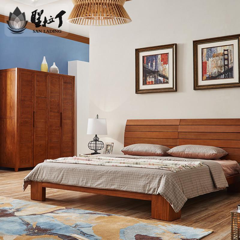 8米1.5米新中式大床北欧床现代简约新古典婚床木床卧室家具