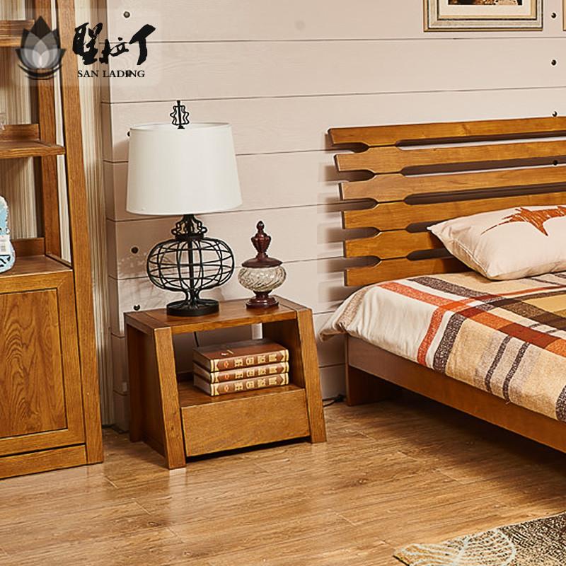 圣拉丁 床头柜简约现代新中式北欧卧室实木床头柜子储