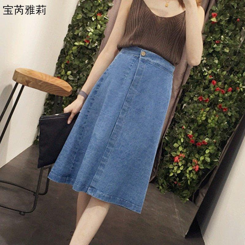 宝芮雅莉 半身裙春季新款韩版女装斜门襟一片式开叉百搭牛仔裙半身裙