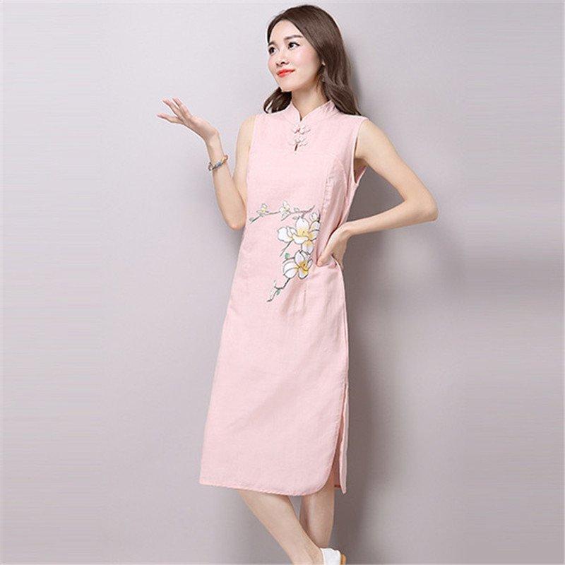 翡百裙2016新款女装原创中国风棉麻手绘文艺范旗袍连衣裙