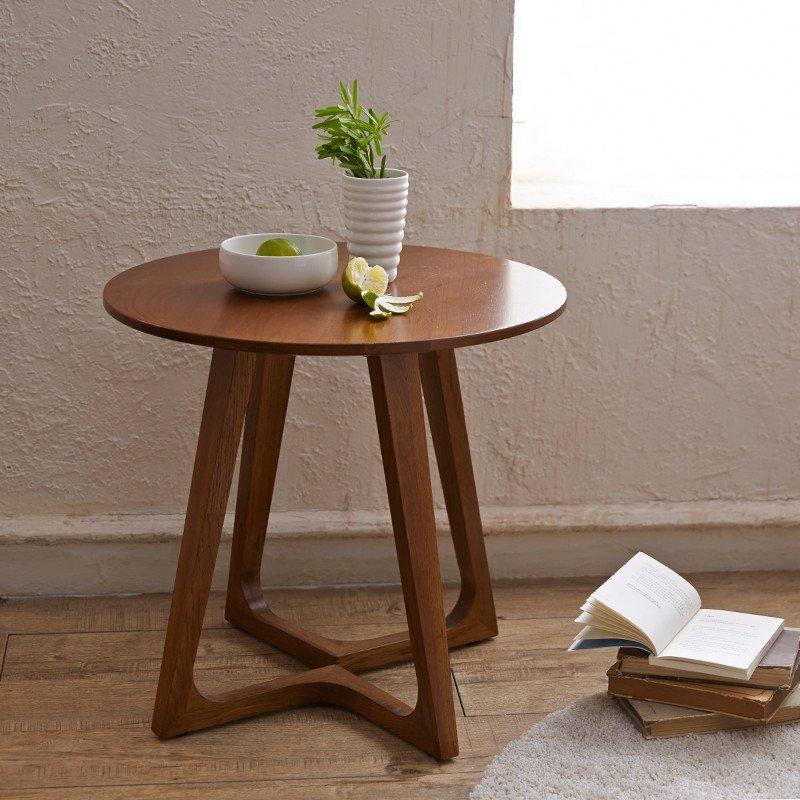 创意简约实木拐腿圆桌组装圆形原木北欧橡木茶几家具