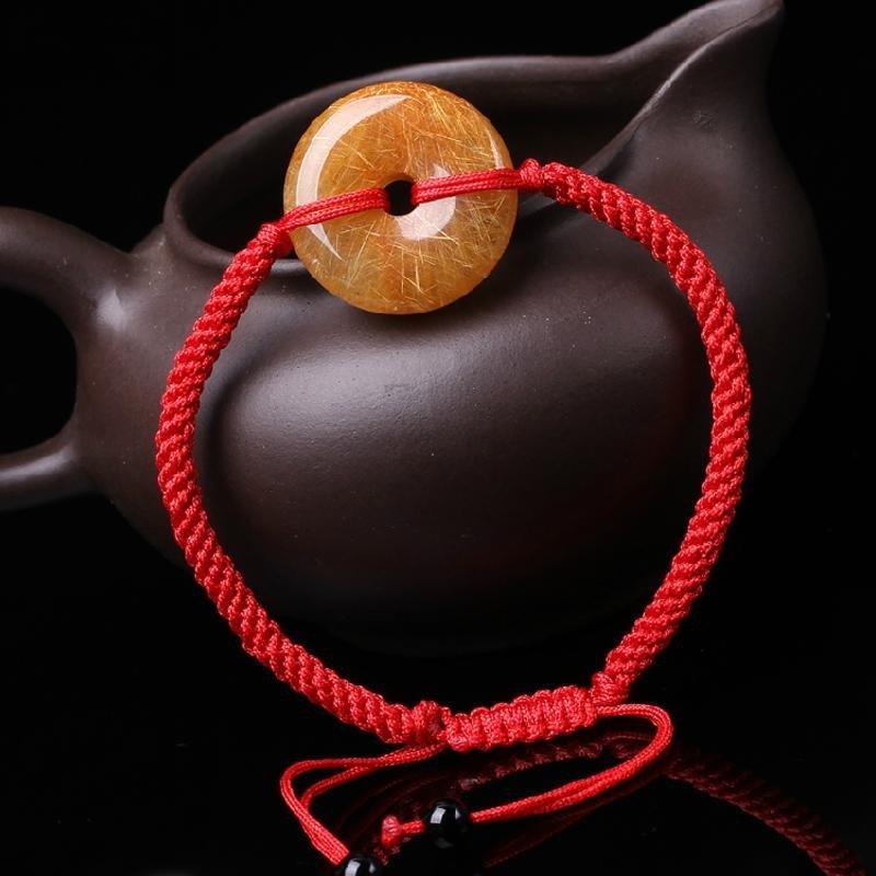 天然金发晶钛晶手链 本命年红绳手串水晶饰品佛珠情侣平安扣