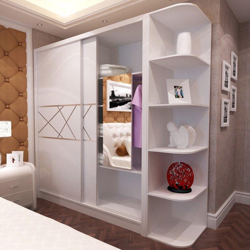 麦卡蒂 现代简约衣柜 带转角顶柜钢琴烤漆白色大衣柜