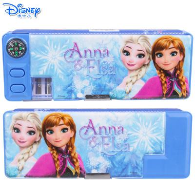 迪士尼(Disney)多功能双开文具盒儿童小学生带指南针削笔刀铅笔盒 DM29228F蓝色冰雪