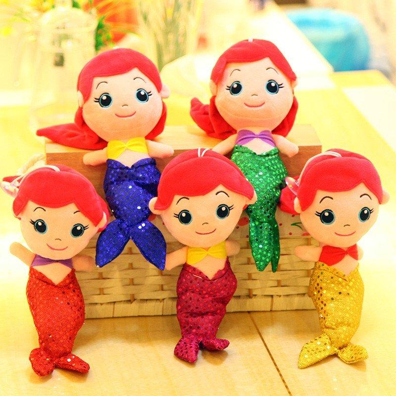 方熊 可爱小美人鱼毛绒公仔 人鱼公主玩偶女孩玩具布娃娃 汽车吸盘