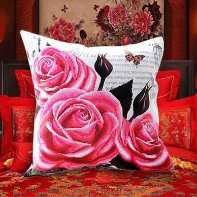 玫瑰花5D刺绣汽车十字绣抱枕情侣新款3d枕头枕套客厅沙发卧室靠垫套件(46*46厘米)