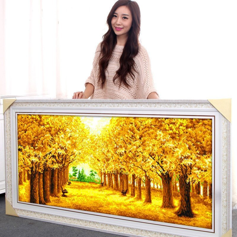 黃金滿地風景5d鉆石畫圓鉆滿鉆3d點粘鉆貼鉆十字繡客廳新款水晶鉆石繡