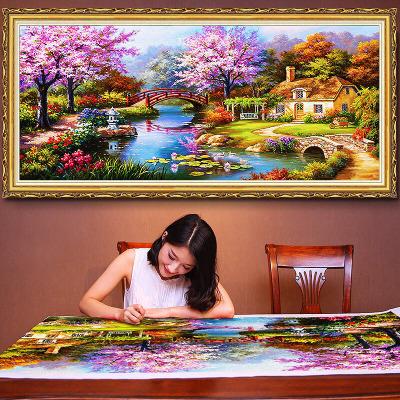 歐式風景刺繡十字繡線繡客廳新款山水簡約現代溫馨大幅臥室掛畫(繡布152*82厘米)