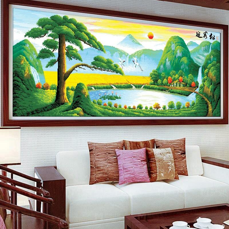 迎客松5d水晶钻石画客厅简约现代大幅2017十字绣山水挂画风景系列