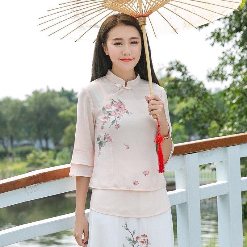 羊奈2016中国风手绘印花女装原创假两件套复古文艺范衬衫新款