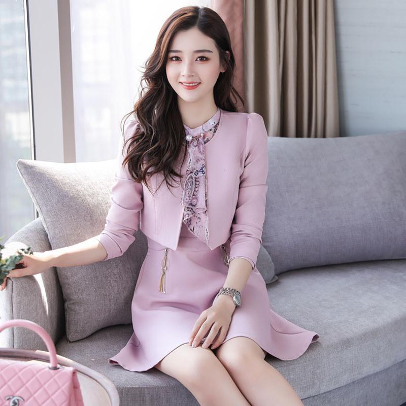 秋季套装女时尚两件套2017新款时髦小香风气质初秋名媛碎花连衣裙