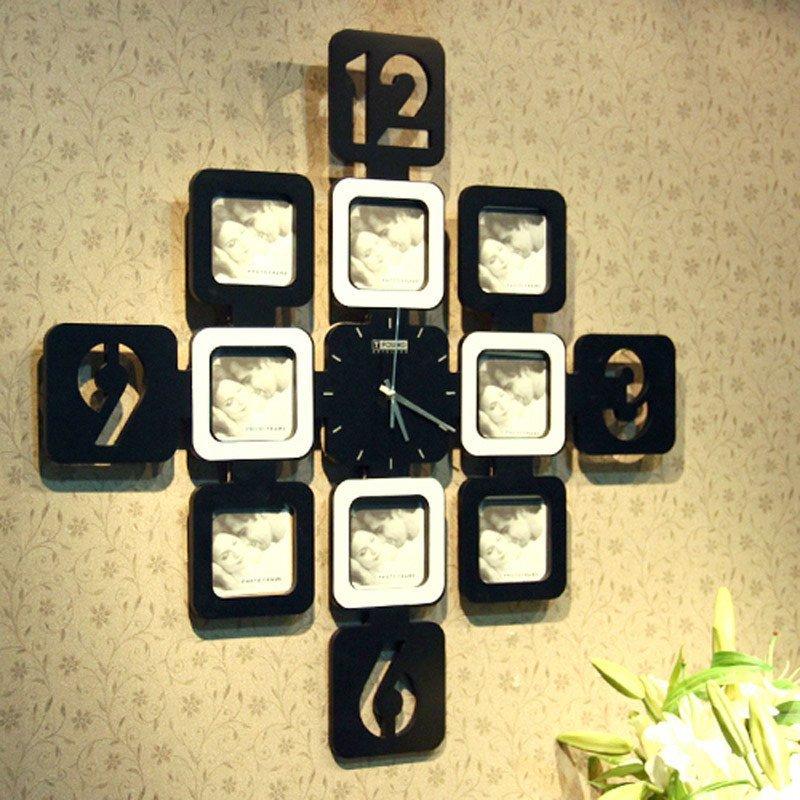 创意九宫格 相框挂钟 装饰挂钟 创意挂钟 黑白