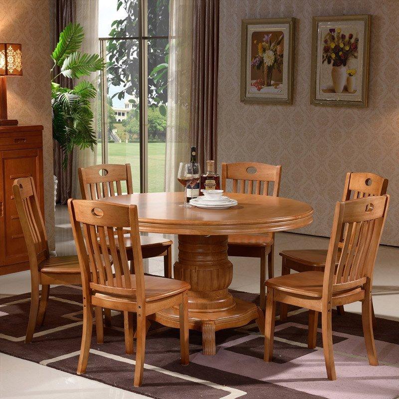 青木川 现代现代中式实木圆餐桌 实木圆桌橡胶木圆形餐桌椅组合带转盘