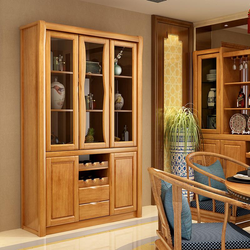 青木川 现代客厅中式实木酒柜 餐边柜家用 玻璃门展示图片