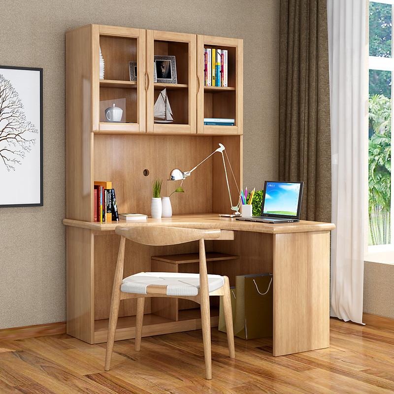 转角电脑桌带书架_青木川 实木电脑桌 转角学习写字桌 拐角书桌带书架组合一体书柜 原木