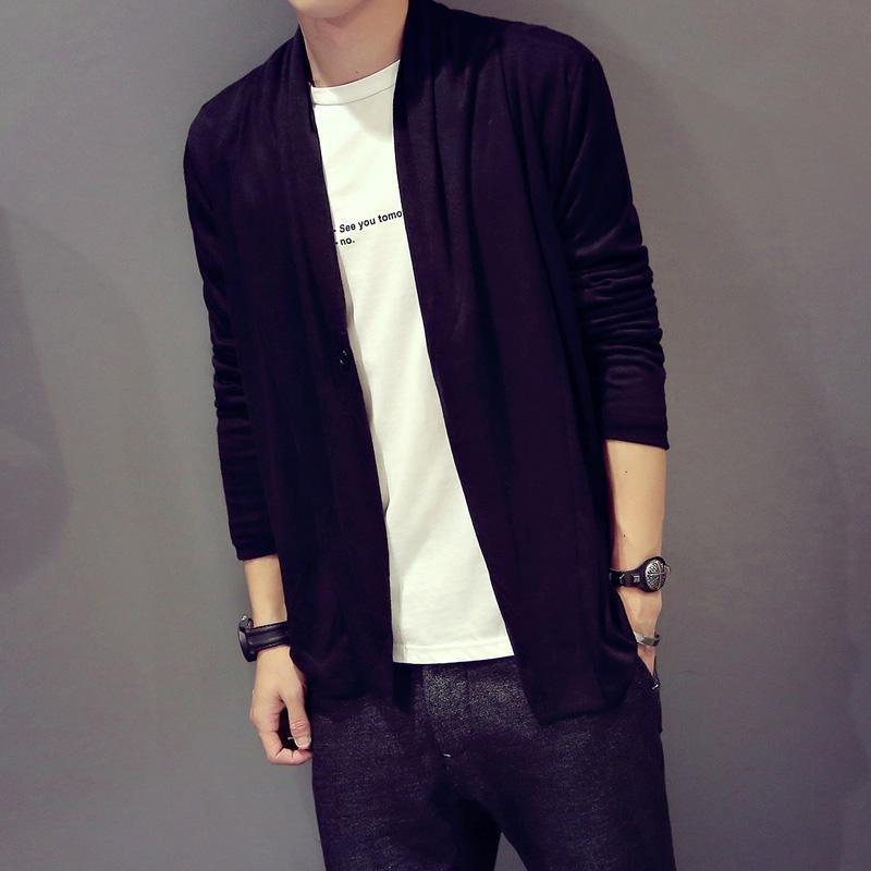 uyuk2015加大码男装秋季新款针织衫外套韩版修身潮男士纯色休闲披肩