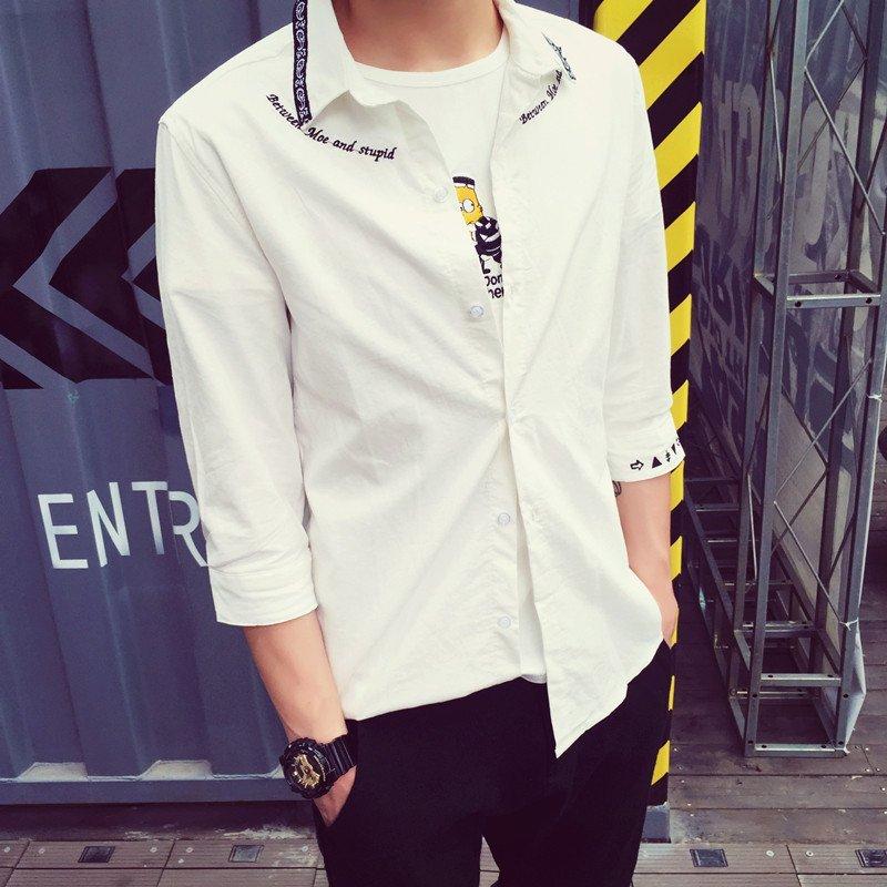 日系英文字母刺绣半袖衬衣男生休闲百搭白衬衫