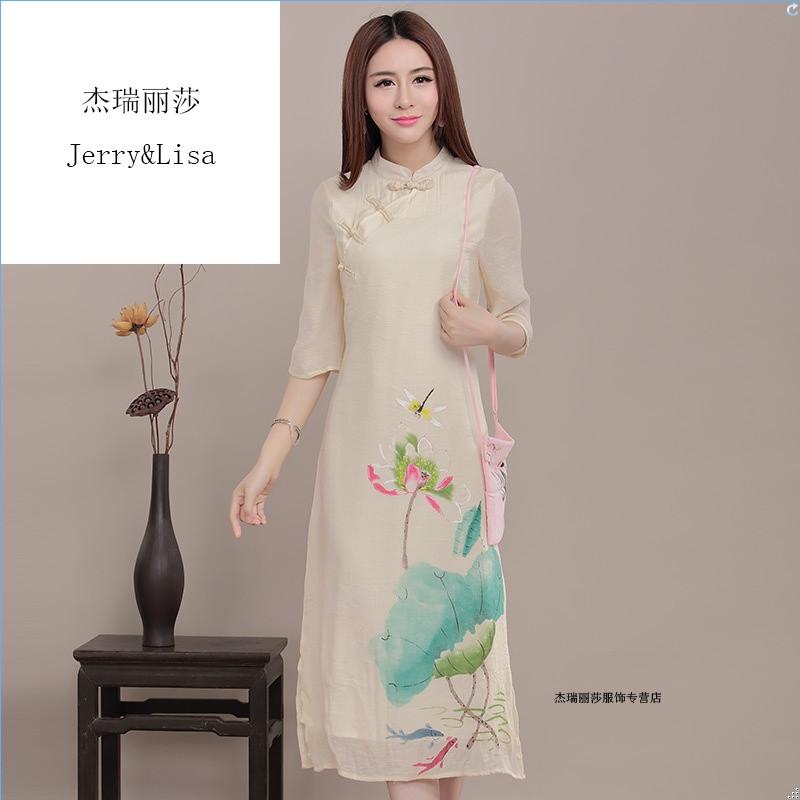 杰瑞丽莎中国风手绘改良旗袍 复古连衣裙时尚修身长款