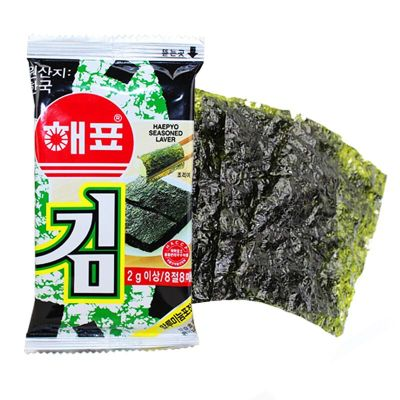 韓國進口海牌海苔2g袋裝多口味 即食壽司烤紫菜片 非蝦條休閑零食