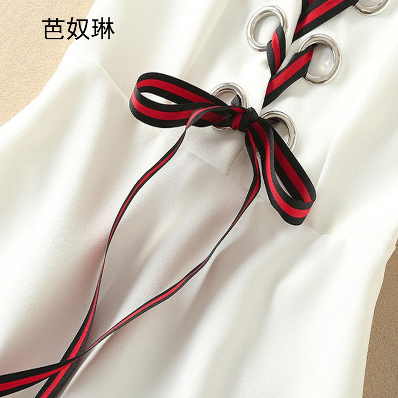 芭奴琳欧美2016秋季新款欧洲站女装无袖飘带修身显瘦连衣裙fz264