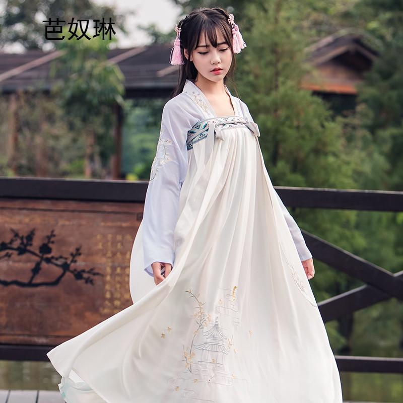 芭奴琳新款女汉服古装古风女装汉元素刺绣对襟两面穿齐胸汉服襦裙三件