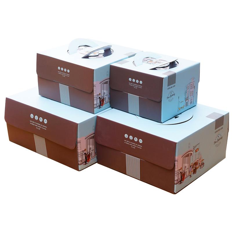 弗格 烘焙包装 手提方形蛋糕盒 可视开窗加厚芝士盒 创意蛋糕盒 送