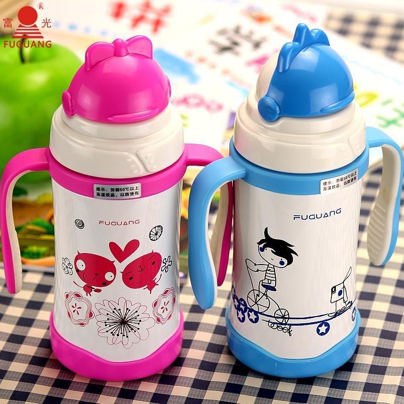 富光保温杯吸管杯学生儿童可爱便携水杯子带把手不锈钢真空杯正品fgl