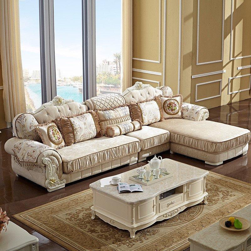 欧式别墅客厅实木l型转角布艺沙发