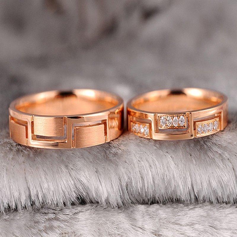 香港皇家珠宝 18k玫瑰金钻石戒指 情侣对戒 结婚戒指