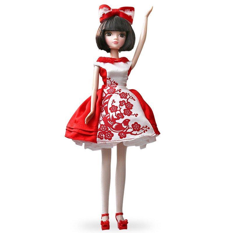 娃娃图片可儿八周年特别版现代短裙剪纸服饰梅花鲜花红色喜庆可儿礼服时尚娃娃图片