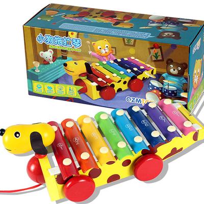 儿童木制拖拉八音阶手敲琴学步婴幼儿宝宝1-3岁早教益智音乐玩具送男孩女孩婴幼儿礼物玩具