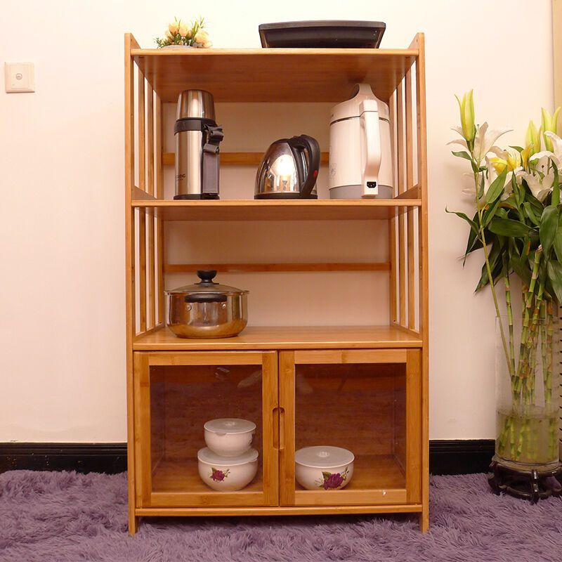 厨房置物架微波炉架置物架落地3层烤箱架多层楠竹带门储物柜收纳