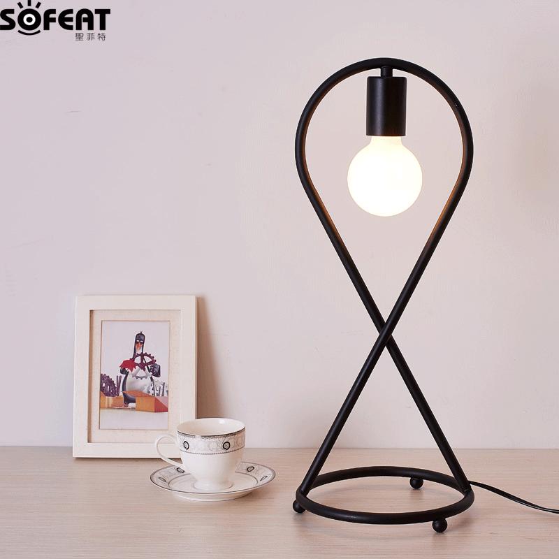 北欧宜家现代简约台灯时尚创意艺术卧室床头书桌学习led设计台灯 sft