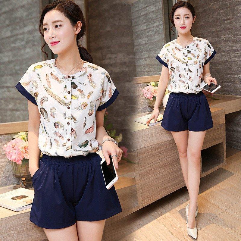 韩文2016夏季新款时尚套装印花雪纺衬衣 阔腿短裤两件