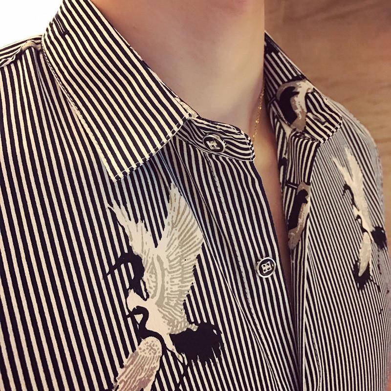 英伦风清爽条纹仙鹤印花七分袖男士衬衫