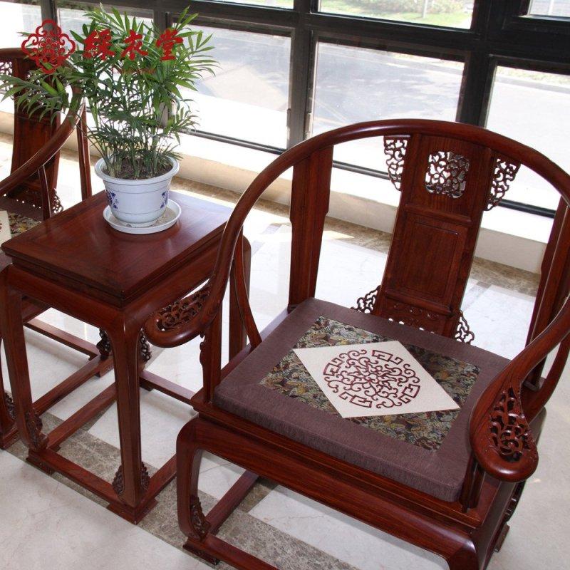 彩衣堂私人定制红木家具坐垫沙发垫 高档中式刺绣坐垫