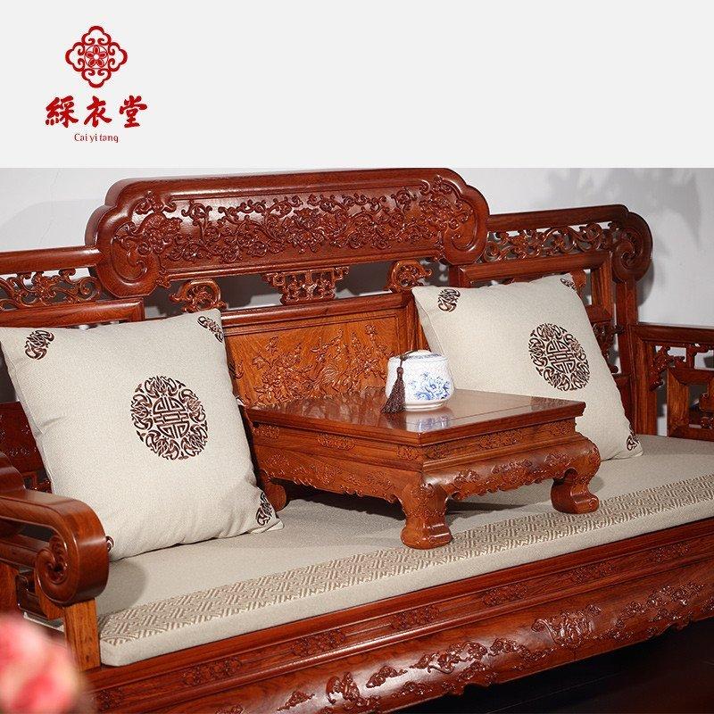 古典红木软饰实木沙发靠垫抱枕坐垫定制刺绣花春福寿