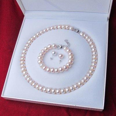 海瞳 强光 淡水珍珠项链 10-11mm 扁圆大颗珍珠项链接三件套装 首饰套装 珍珠