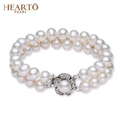 海瞳 双层 灵逸 淡水珍珠手链 近圆 珍珠手链 珍珠扣设计 手链长度18cm