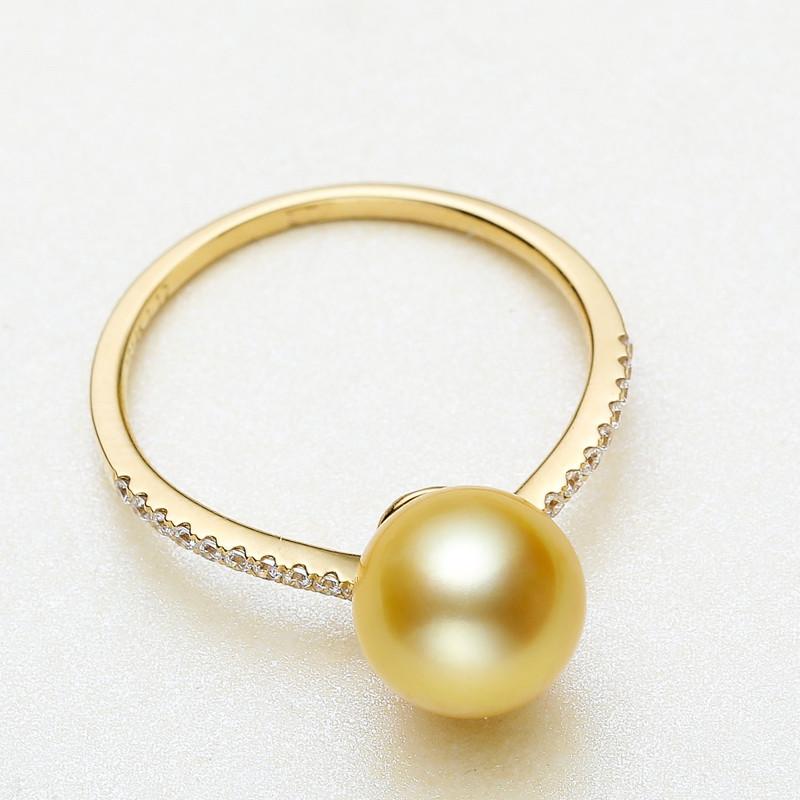 海瞳14k金南洋金珠戒指 9-10mm 正圆 金色海水珍珠戒指 强光