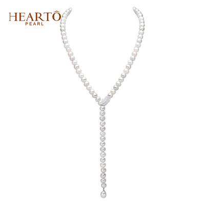海瞳 一款四戴 珍珠毛衣链 (幻叶) 白色 淡水珍珠毛衣链 项链 珍珠