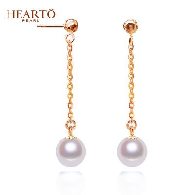 海瞳 一款两戴 18K金珍珠耳线 风在吹 韩范时尚 8-9mm 淡水珍珠耳钉正圆 长款耳饰 珍珠送女友礼物