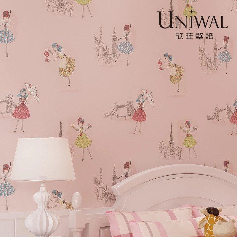 欣旺儿童壁纸 可爱女孩粉色浅色卡通墙纸卧室温馨房间