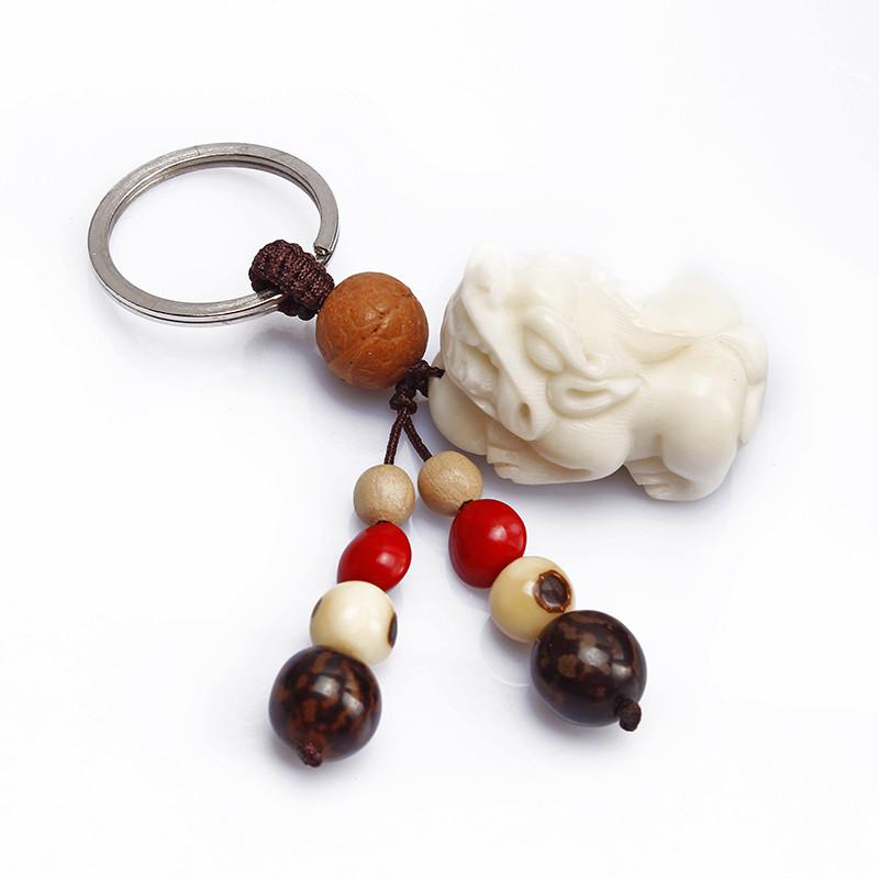集祥阁 汽车钥匙扣挂件手工创意象牙果菩提子雕貔貅佛手钱袋钥匙扣挂