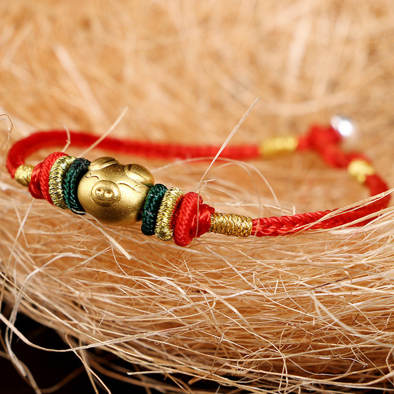 金珠转运珠手工编织红绳手链3d硬金福猪手绳本命年化太岁男女