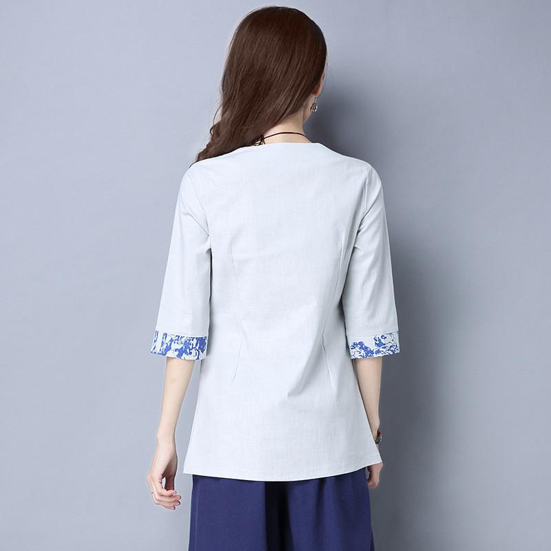 琳朵儿民族风手绘青花瓷女中袖棉麻上衣
