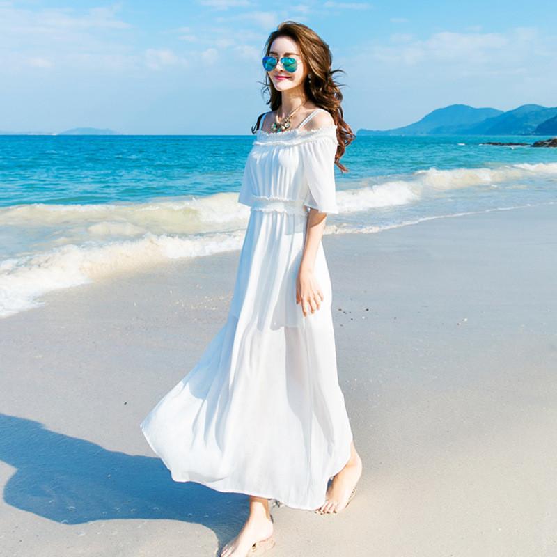 琳朵儿海边度假沙滩裙波西米亚长裙白色一字领吊带连衣裙夏